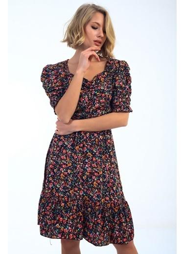 Emjey Balon Kol Ön Büzgülü Eteği Valonlı Elbise Renkli